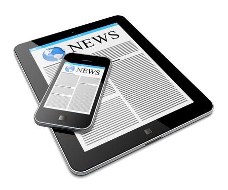 periodicos: Tablet PC y smartphone m�vil con noticias en una pantalla una imagen aislada en 3d blanco