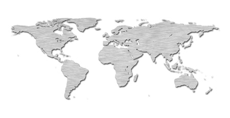 the americas: Earth world map with a brushed metal texture