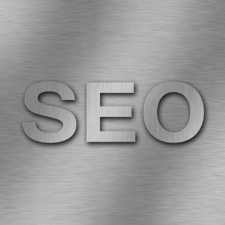 SEO technology concept, metal brushed background photo