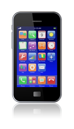 Mobile smart phone with blue screen and colorful apps  3d image