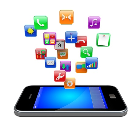 Mobile smart phone with software apps icons   3d image Stock Photo - 15701398