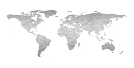Earth world map with a brushed metal texture photo