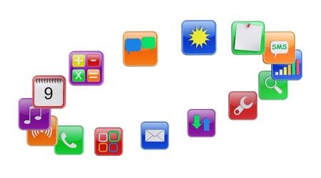 Software apps icons  3d rendered image photo