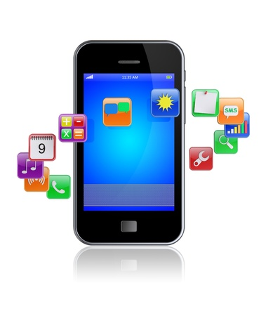 Mobile smart phone with software apps icons around   3d image  Stock Photo - 15798855