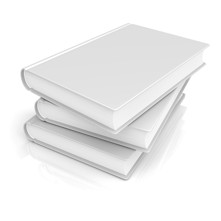 White blank books on a white background. 3d image photo