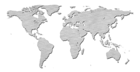 north china: Earth world map with a brushed metal texture