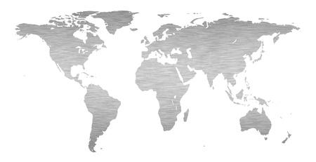 south america: Tierra mapa del mundo con una textura de metal cepillado