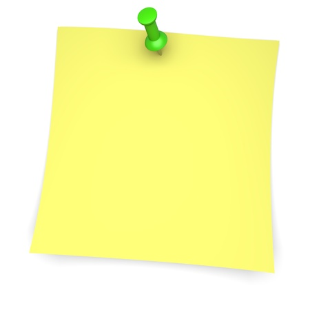 Yellow paper note with green pushpin  3d image photo