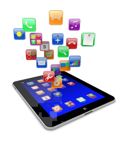 Tablet pc computer with software apps icons   Media technology concept   3d image