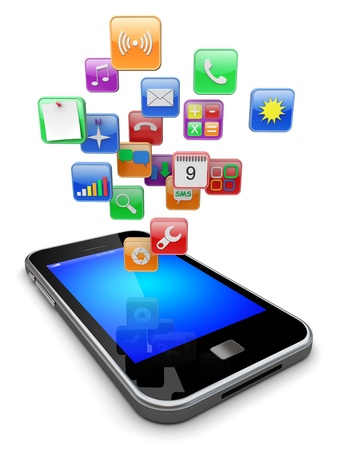 Mobile smart phone with software apps icons   3d image  photo