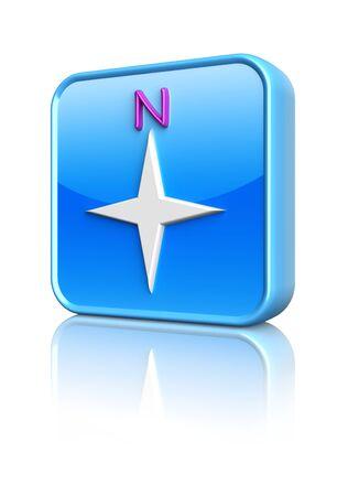 Blue compass button  3d icon photo