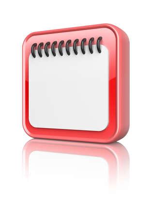 Red calendar icon button  3d image Stock Photo - 16812488