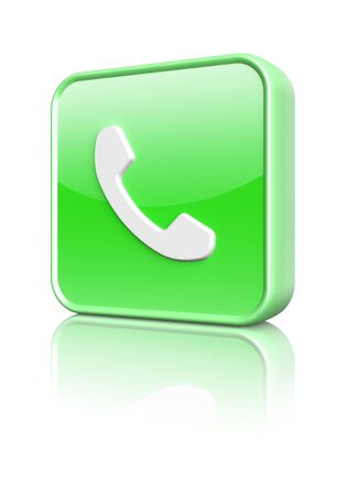 Green phone icon button  3d image Stock Photo - 16812492