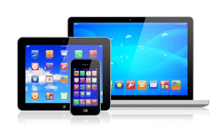 Laptop, tablet pc computer and mobile smartphone with a blue background and colorful apps on a screen  Isolated on a white  3d image   photo