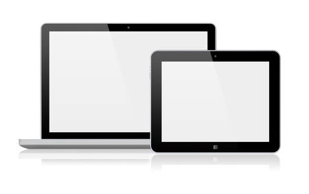 Laptop and tablet pc computer with a blank screen  Isolated on a white  3d image   Фото со стока