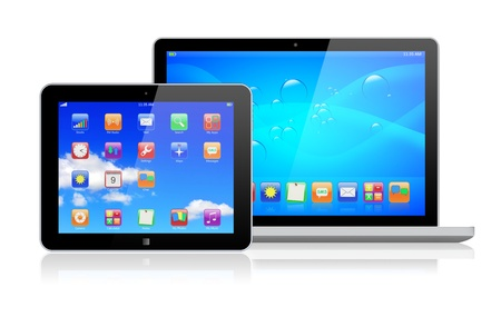Laptop and tablet pc computer with a blue background and colorful apps on a screen  Isolated on a white  3d image   Stock Photo