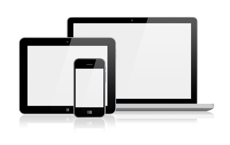 Laptop, tablet pc computer and mobile smartphone with a blank screen Isolated on a white 3d image