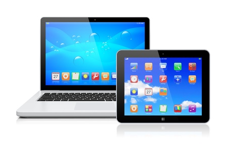 Laptop and tablet pc computer with a blue background and colorful apps on a screen  Isolated on a white  3d image  Stock Photo - 17323206