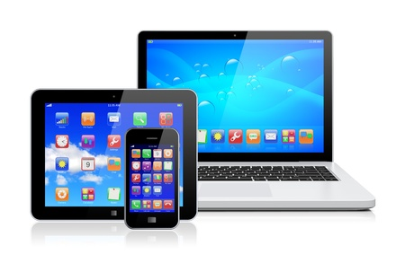 Laptop, tablet pc computer and mobile smartphone with a blue background and colorful apps on a screen  Isolated on a white  3d image  Stock Photo - 17323213