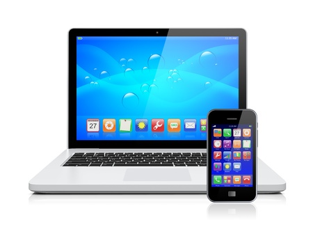 Laptop, and mobile phone with a blue background and colorful apps on a screen  Isolated on a white  3d image   photo