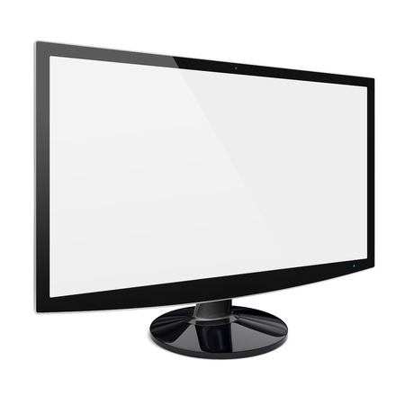 high definition television: Computer wide monitor with a blank screen  Isolated on a white  3d image