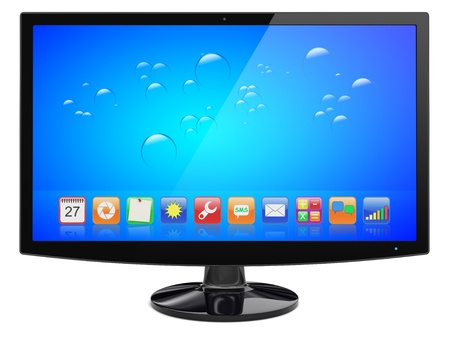 Computer wide monitor with a blue background and colorful apps on a screen  Isolated on a white  3d image  Isolated on a white  3d image  Stock Photo - 17563464