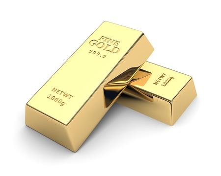 Lingotti d'oro lucido isolato su un immagine 3d bianco