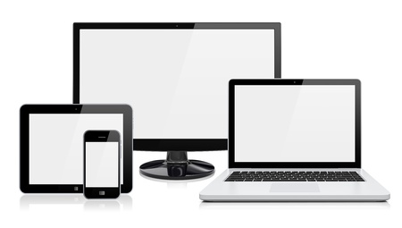electronics industry: Computer monitor, laptop, tablet pc,  and mobile smartphone with a blank screen  Isolated on a white  3d image