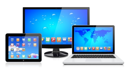 Computer monitor, laptop and tablet pc with a blue background and colorful apps on a screen  Isolated on a white  3d image