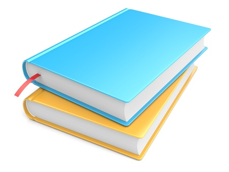 Colorful books on white background  3d image photo