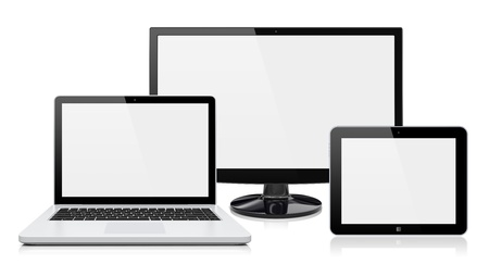 Computer monitor, laptop and tablet pc with a blank screen  Isolated on a white  3d image  photo