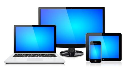 icono computadora: Monitor de la computadora, laptop, tablet pc, m�vil y smartphone con una pantalla azul aislado en una imagen 3d blanco Foto de archivo