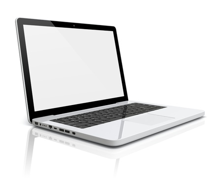 Laptop with blank screen on a white background  3d image Stock Photo - 18217298