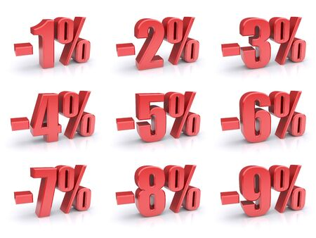 percentages: Set of discount percentage 3d icons on a white background  Stock Photo