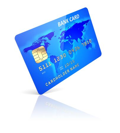 e card: Blue credit plastic card on a white background  3d illustration