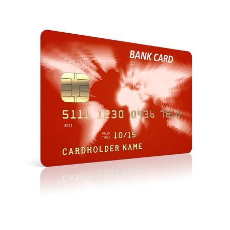 e card: Red credit plastic card on a white background  3d illustration