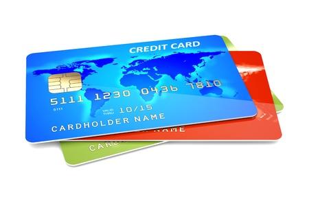 Colorful credit cards on a white background  3d illustration Standard-Bild