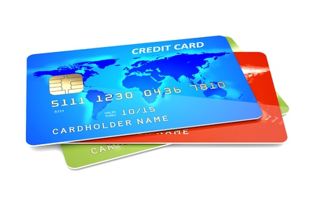 credit card debt: Colorful credit cards on a white background  3d illustration Stock Photo