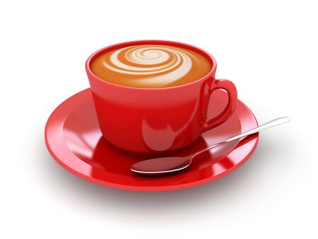 3d image: Red cup of cappucino on a white background  3d rendered image