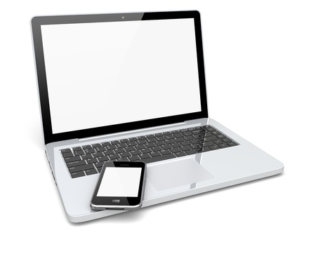 Laptop, and mobile phone with a blank screen. Technology 3d concept  Фото со стока