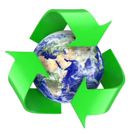 Recycling symbol around earth globe. 3d illustration Stock Photo