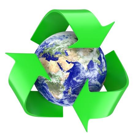 Recycling symbol around earth globe. 3d illustration Stock Photo