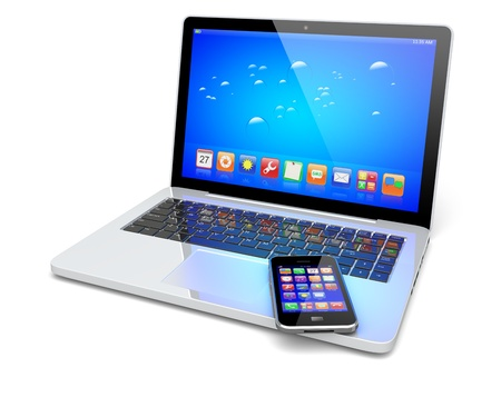 Laptop, and mobile phone with a blue background and colorful apps on a screen. Isolated on a white. Technology 3d concept Stock Photo - 18862219