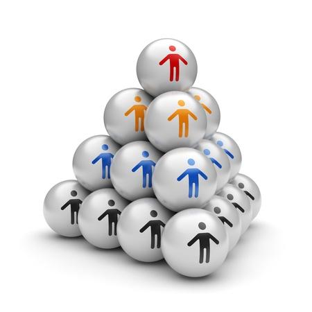 jerarquia: Concepto de negocio de la pirámide de la estructura de la jerarquía y el líder del equipo en su ilustración 3d superior