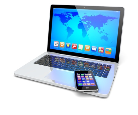 Laptop, and mobile smart phone with colorful apps and Earth world map on a screen. Isolated on a white. Technology 3d concept Stock Photo - 18929872