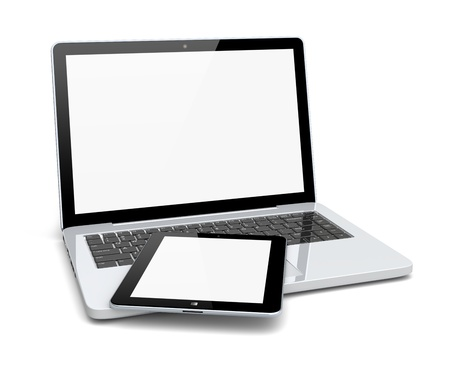 Laptop and tablet pc computer with a blank screen  Technology 3d concept