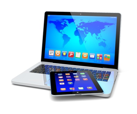 Laptop and tablet pc computer with colorful apps and Earth world map on a screen  Isolated on a white  Technology 3d concept