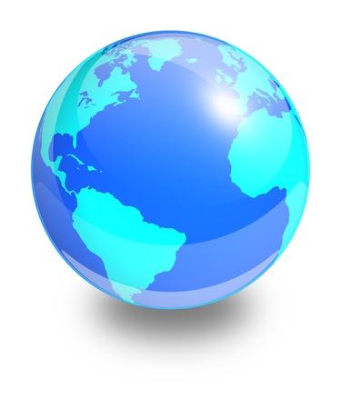 atlantic ocean: Glass Earth globe on a white background  Side of the Atlantic Ocean