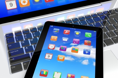 Tablet PC with colorful apps on a screen lying on laptop keyboard  Technology 3d concept