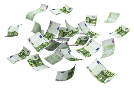 european money: Falling euro money currency on a white background Stock Photo